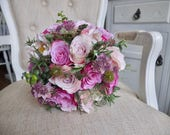 Rustic dusky pink silk wedding bouquet.