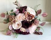 Blush, dusty rose and burgundy wedding bouquet. Silk wedding flowers.