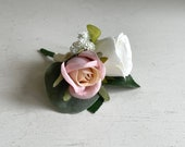 Pink champagne and ivory silk wedding buttonhole / boutonniere.