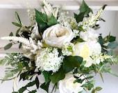 Country garden white and green silk wedding bouquet.