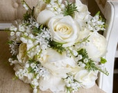 Natural ivory and white silk wedding bouquet.