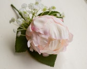 Pink peony silk wedding buttonhole / boutonniere