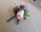 Rustic dusky pink silk wedding buttonhole / boutonniere.