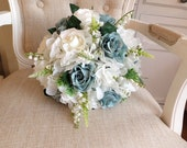 White, ivory and teal silk wedding bouquet.