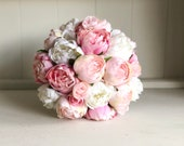 Pink and white peonies silk wedding bouquet