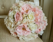 Pink and ivory silk wedding bouquet.