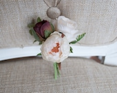 Blush, burgundy and champagne silk wedding buttonhole / boutonniere. Made from an artificial roses, ranunculus and greenery.