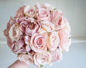 Dusky pink peonies and roses silk wedding bouquet.