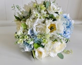 Ivory and pale blue silk wedding bouquet.
