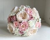 Pink champagne silk wedding bouquet.
