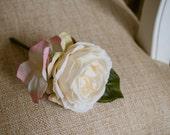 Ivory and pink silk weddi...