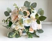 Peach, cream and ivory silk wedding bouquet