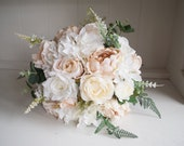 Rustic cream, taupe and white silk wedding bouquet.