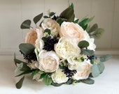 Ivory, nude/ champagne and navy blue silk wedding bouquet.
