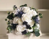 White and navy blue silk wedding bouquet. Roses, peonies and thistle.