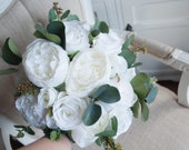 White roses and peonies wedding bouquet. Eucalyptus bouquet