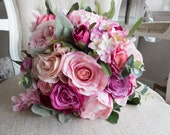 Pink rose and peony silk wedding bouquet.