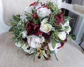 Rustic ivory and burgundy silk wedding bouquet.
