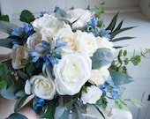 Luxury ivory and blue rustic silk wedding bouquet. Roses and delphinium bouquet.