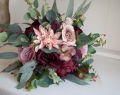 Rustic dusky pink and burgundy wedding bouquet. Boho wedding flowers