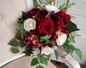 Red, ivory and burgundy silk wedding bouquet. Artificial wedding flowers. Winter wedding bouquet