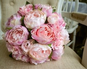 Blush pink and pale pink silk wedding bouquet. Made with artificial peonies and roses.