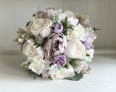 Dusty lavender silk wedding bouquet.