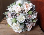 Winter ivory and blush pink silk wedding bouquet.