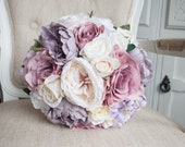 Dusky pink and mauve silk wedding bouquet. Vintage dusty rose and peony silk wedding flowers