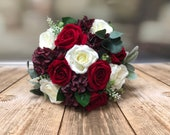 Red and ivory roses with burgundy hydrangea silk wedding bouquet.