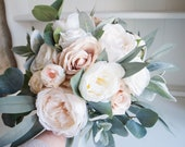 Rustic, blush and ivory wedding bouquet with eucalyptus and lambs ear greenery.