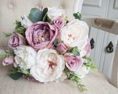 Garden rose and peony silk wedding bouquet. Mauve, dusky pink and cream silk wedding flowers
