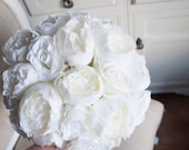 White rose and peony elegant wedding bouquet.
