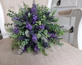 Rustic lavender and greenery wedding bouquet.