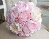 Luxury pink peony silk we...