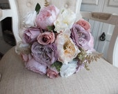 Ivory, mauve, pale pink and dusky pink silk wedding bouquet. **Updated design**