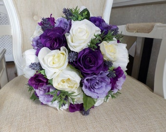 Purple bouquet etsy purple lilac white and cream silk wedding bouquet made with artificial roses lavender peonies and greenery mightylinksfo