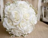 Ivory rose and white gypsophila silk wedding bouquet.