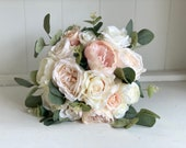 Romantic blush, ivory and nude wedding bouquet.