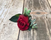 Red rose silk wedding buttonhole / boutonniere.
