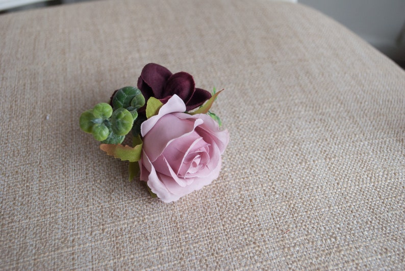 Dusky pink and burgundy silk wedding buttonhole / boutonniere. image 0