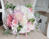 Pink and ivory country garden silk wedding bouquet.