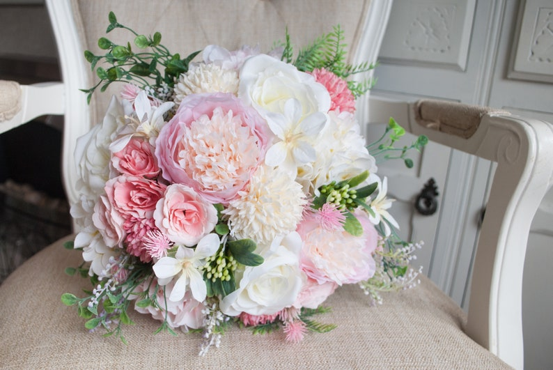 Pink and ivory country garden silk wedding bouquet. image 0