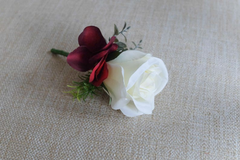 Ivory and burgundy silk wedding buttonhole / boutonniere. Made image 0