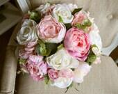 Country garden pink wedding bouquet