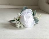 White rose, gypsophila and eucalyptus silk wedding buttonhole.
