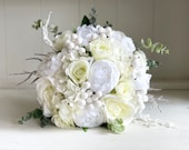 Winter sparkle, white and ivory silk wedding bouquet.