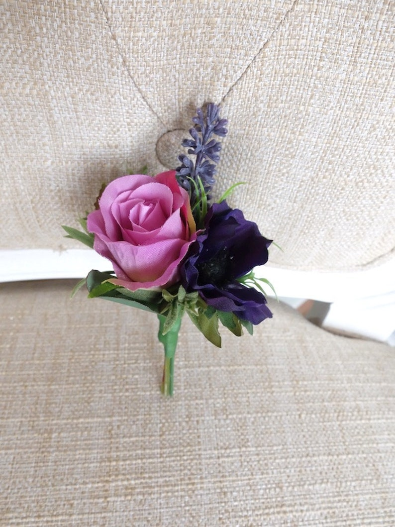 Purple and mauve silk wedding buttonhole / boutonniere. image 0