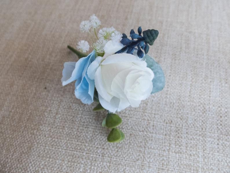 Dusky blue and white silk wedding buttonhole / boutonniere. image 0