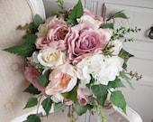 Natural dusky pink wedding bouquet. Silk wedding flowers. Country garden wedding.